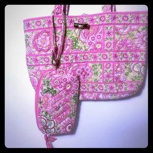 Vera Bradley Petal Pink Green Tote & Wristlet Set